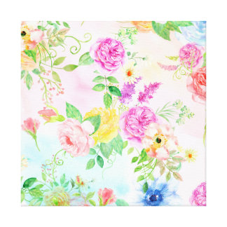 Watercolor pink and peach rose pattern print