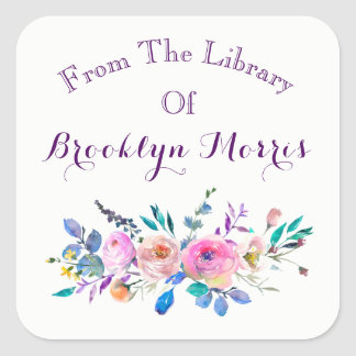 Watercolor Pink And Teal Floral Bookplate Square Sticker