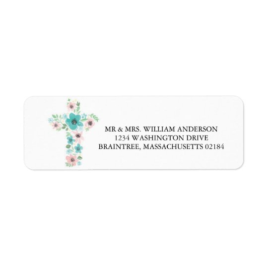 Watercolor Pink and Teal Flower Cross Return Address Label