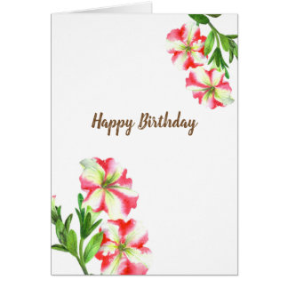 Watercolor Pink and White Petunias Floral Art Card