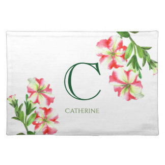 Watercolor Pink and White Petunias Floral Monogram Placemat