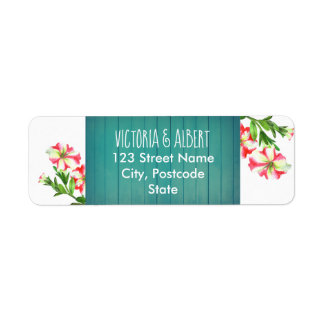 Watercolor Pink and White Petunias Floral Wedding Return Address Label