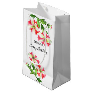 Watercolor Pink and White Petunias Happy Birthday Small Gift Bag