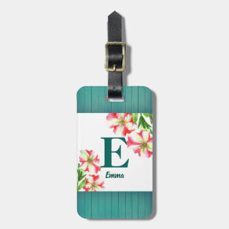 Watercolor Pink and White Petunias Illustration Luggage Tag