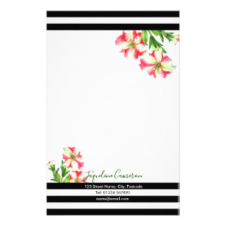 Watercolor Pink and White Petunias Illustration Stationery