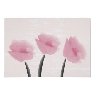Watercolor Pink Anemones Flowers Poster