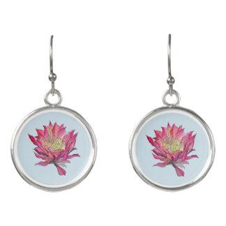 Watercolor Pink / Blue  Flower Earrings