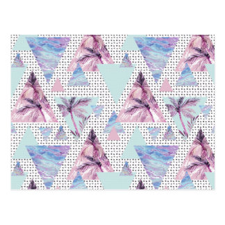 Watercolor Pink & Blue Palm Tree Pattern Postcard
