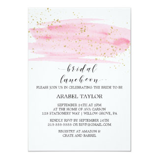 Watercolor Pink Blush and Gold Bridal Luncheon Card
