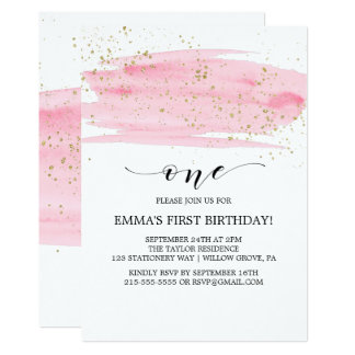 Watercolor Pink Blush & Gold Sparkle 1st Birthday Card
