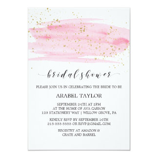 Watercolor Pink Blush & Gold Sparkle Bridal Shower Card