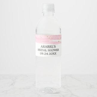 Watercolor Pink Blush & Gold Sparkle Bridal Shower Water Bottle Label