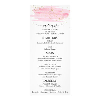 Watercolor Pink Blush & Gold Sparkle Wedding Menu Customised Rack Card