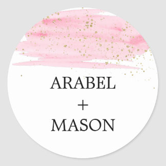 Watercolor Pink Blush & Gold Wedding Envelope Seal Round Sticker