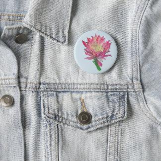 Watercolor Pink Cactus Flower Print Button