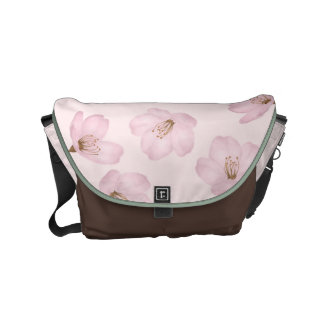 Watercolor Pink Cherry Blossom Messenger Bag