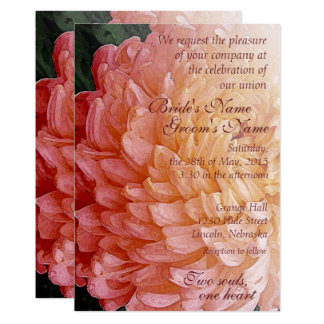 Watercolor Pink Chrysanthemum Wedding Invite 2