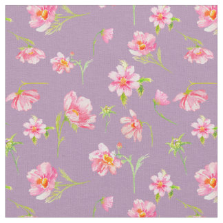Watercolor Pink Cosmos Fabric