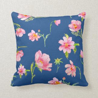 Watercolor Pink Cosmos Pillow Cushions