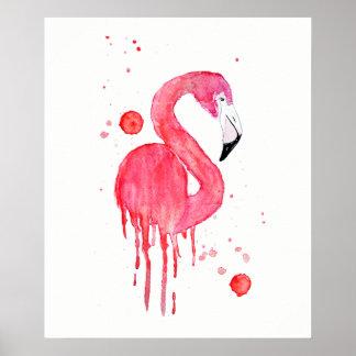 Watercolor Pink Flamingo Poster