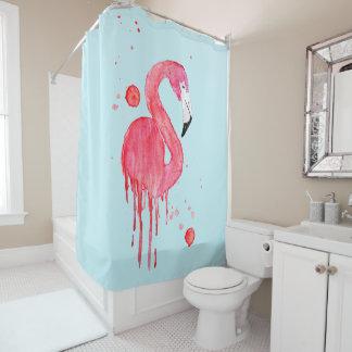 Watercolor Pink Flamingo Shower Curtain