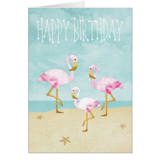 Watercolor Pink Flamingos on the Beach Greeting Card
