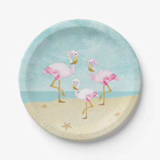 Watercolor Pink Flamingos on the Beach Paper Plate