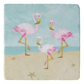 Watercolor Pink Flamingos on the Beach Trivet