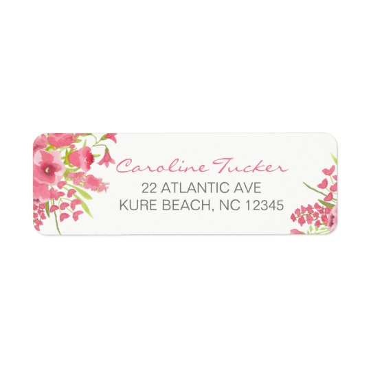 Watercolor Pink Floral Baby Shower Address Labels