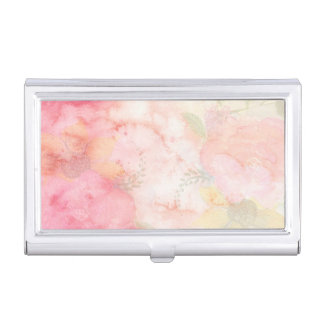 Watercolor Pink Floral Background Case For Business Cards