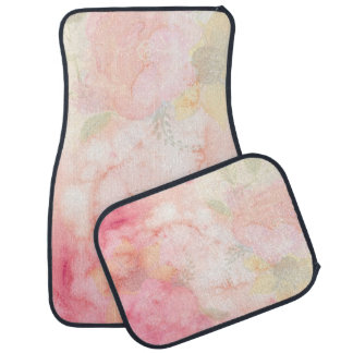 Watercolor Pink Floral Background Floor Mat