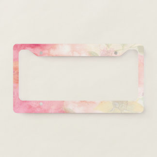 Watercolor Pink Floral Background Licence Plate Frame