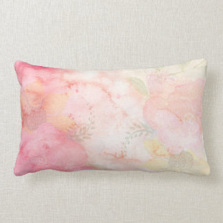 Watercolor Pink Floral Background Lumbar Cushion