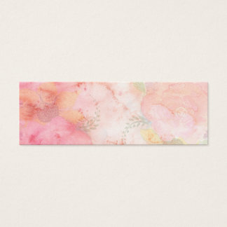 Watercolor Pink Floral Background Mini Business Card