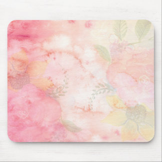 Watercolor Pink Floral Background Mouse Pad
