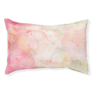 Watercolor Pink Floral Background Pet Bed
