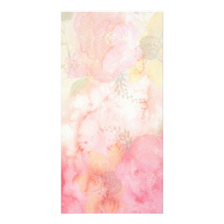 Watercolor Pink Floral Background Picture Card