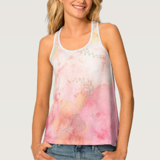 Watercolor Pink Floral Background Singlet