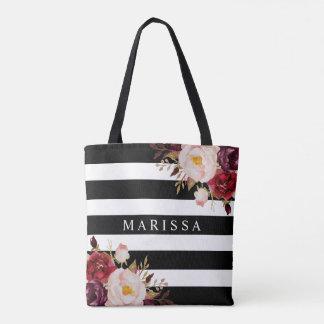 Watercolor Pink Floral Burgundy Black White Stripe Tote Bag