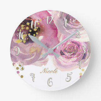 Watercolor Pink Floral & Gold Modern Personalized Round Clock