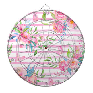 Watercolor pink floral pattern with strips dartboard with darts