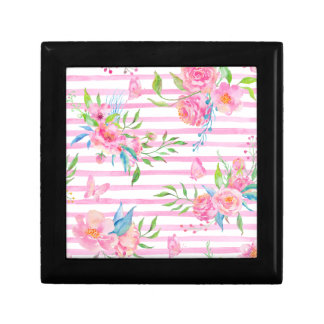 Watercolor pink floral pattern with strips gift box