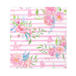 Watercolor pink floral pattern with strips notepad