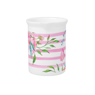Watercolor pink floral pattern with strips pitcher