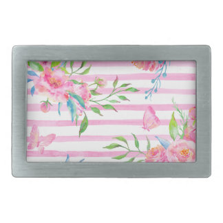 Watercolor pink floral pattern with strips rectangular belt buckles