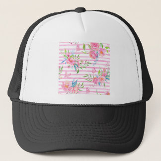 Watercolor pink floral pattern with strips trucker hat