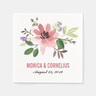 Watercolor Pink Flower Burst | Wedding Reception Disposable Napkins