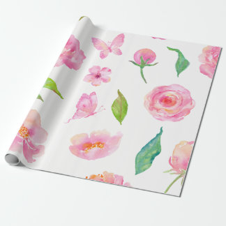 Watercolor pink flower butterfly wrapping paper