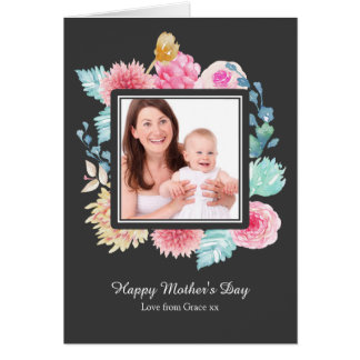Watercolor Pink Flower Mothers Day Personalised Card