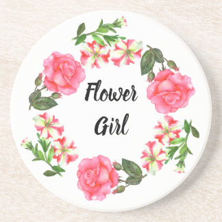 Watercolor Pink Flowers Circle Wreath Design Coaster